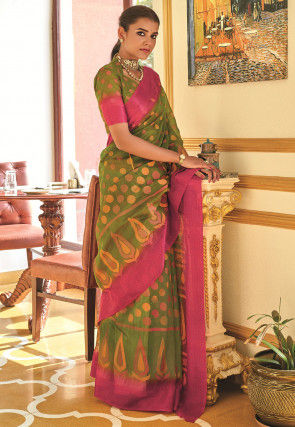 Printed Cotton Saree in Olive Green