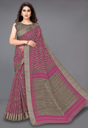 Printed Cotton Saree in Pink and Beige
