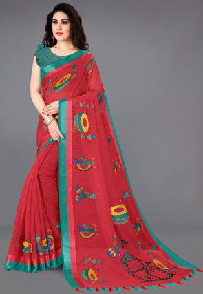 Printed Cotton Saree in Red