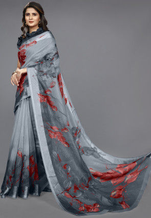 Printed Cotton Saree in Shaded Grey