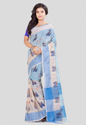 Printed Cotton Saree in Sky Blue and White