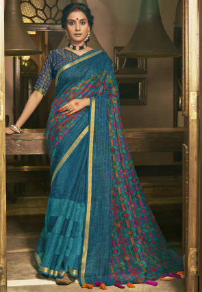 Printed Cotton Saree in Teal Blue