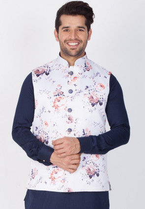 Printed Cotton Satin Nehru Jacket in Off White