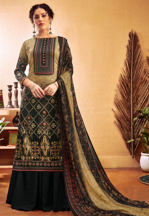 Printed Cotton Satin Pakistani Suit in Shaded Beige and Black
