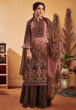Printed Cotton Satin Pakistani Suit in Shaded Purple and Wine