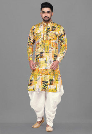 Printed Cotton Satin Pathani Suit in Mustard
