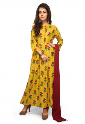 Printed Cotton Satin Straight Suit in Yellow
