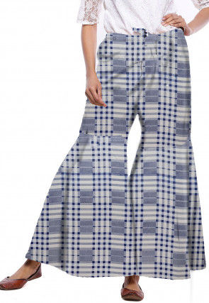 Printed Cotton Sharara in Blue and White