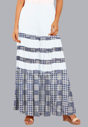 Printed Cotton Sharara in White and Blue