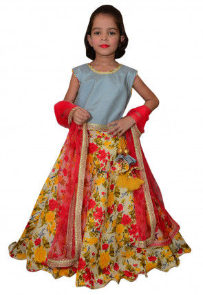 Printed Cotton Shimmer Lehenga in Beige and Multicolor