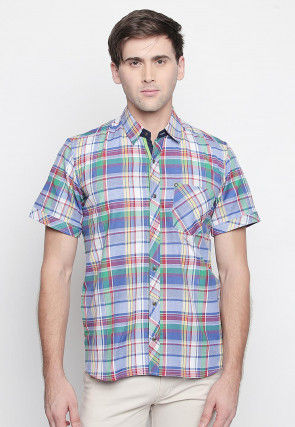 Printed Cotton Shirt in Blue and Multicolor
