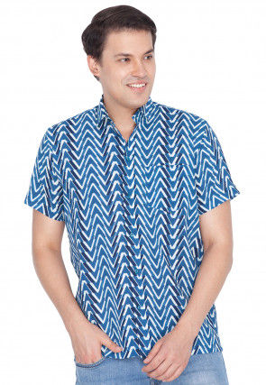 Printed Cotton Shirt in Blue