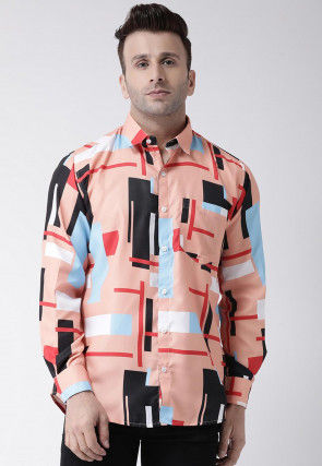 Printed Cotton Shirt in Peach and Multicolor