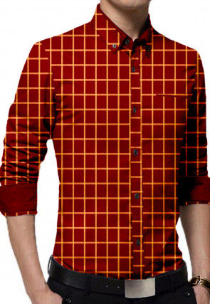 Printed Cotton Shirt in Red