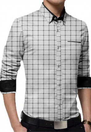 Printed Cotton Shirt in White