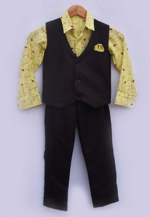 Printed Cotton Shirt Set in Yellow and Black