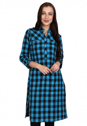 Printed Cotton Shirt Style Tunic in Blue and Black