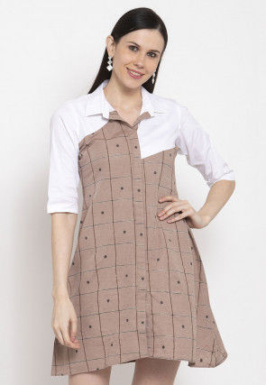 Printed Cotton Short Dress in Light Brown