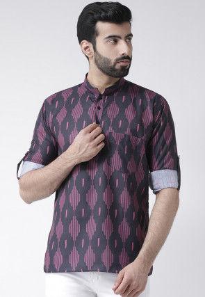 Printed Cotton Short Kurta in Black and Pink
