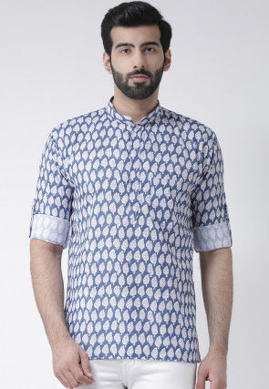 Printed Cotton Short Kurta in Blue and White