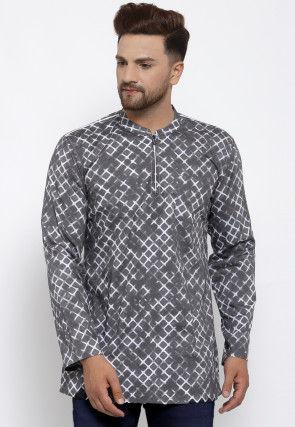 Printed Cotton Short Kurta in Grey