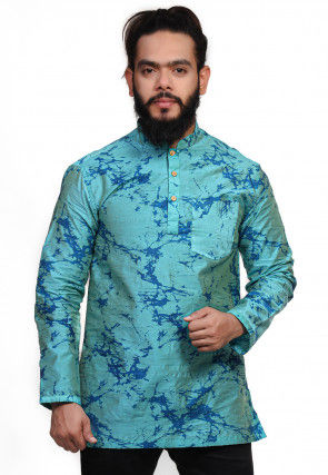 Printed Cotton Short Kurta in Teal Blue