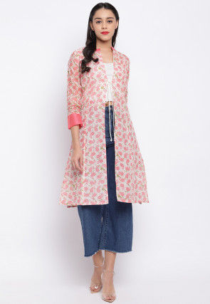 Printed Cotton  Shrug in Off White and Pink