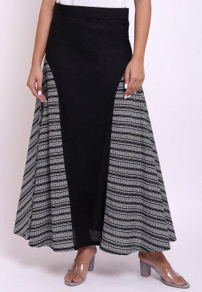 Printed Cotton Side Panel Skirt in Black and White