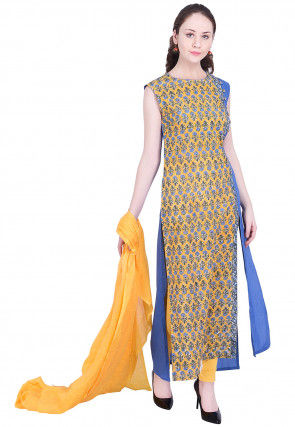 Printed Cotton Side Slit Straight Suit in Yellow and Blue