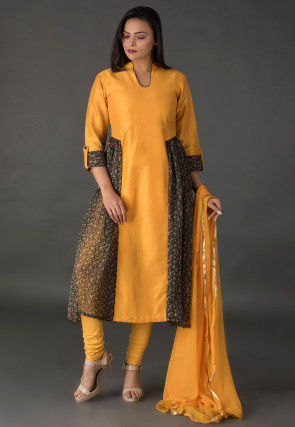 Printed Cotton Silk A Line Suit in Mustard and Black