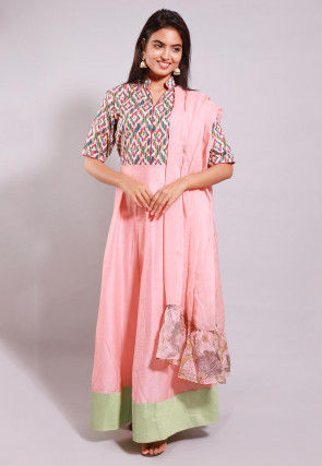 Printed Cotton Silk Abaya Style Suit in Peach