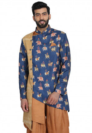 Printed Cotton Silk Asymmetric Jacket in Blue