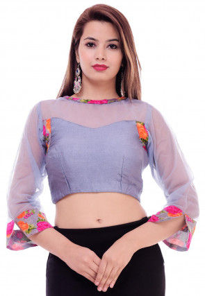 Printed Cotton Silk Blouse in Grey