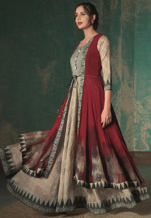 Printed Cotton Silk Jacket Style Gown in Beige and Maroon