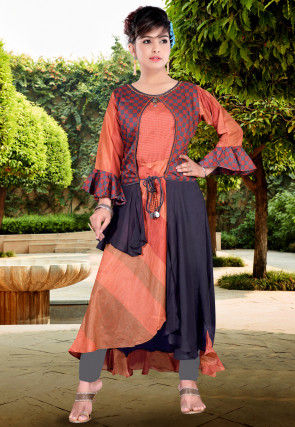 Printed Cotton Silk Jacket Style Kurta in Peach and Blue