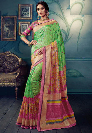 Printed Cotton Silk Jacquard Saree in Light Green and Pink
