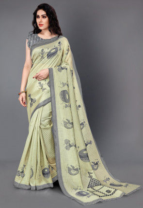 Printed Cotton Silk Jacquard Saree in Light Green