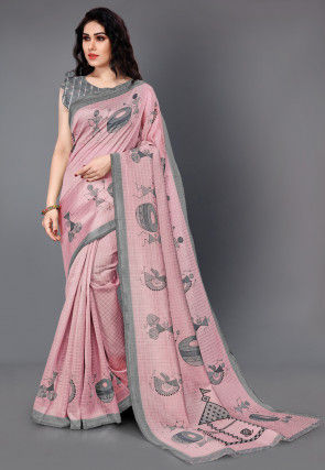 Printed Cotton Silk Jacquard Saree in Pink