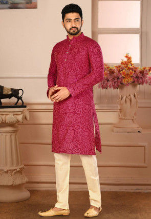 Printed Cotton Silk Kurta Pajama in Fuchsia