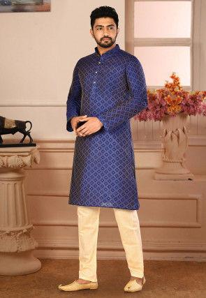 Printed Cotton Silk Kurta Pajama in Navy Blue