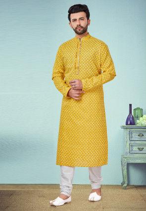 Printed Cotton Silk Kurta Pyjama in Mustard