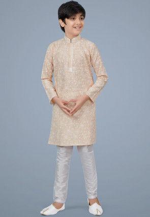 Printed Cotton Silk Kurta Set in Light Beige