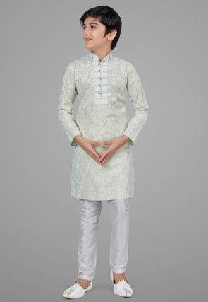 Printed Cotton Silk Kurta Set in Light Pastel Green