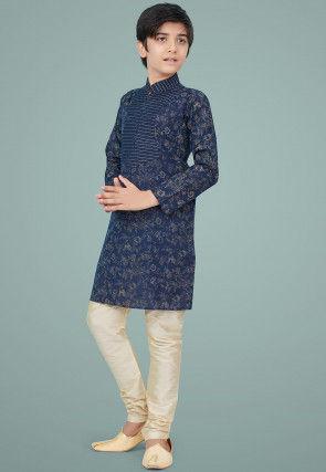Printed Cotton Silk Kurta Set in Navy Blue