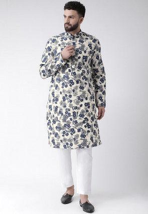 Printed Cotton Silk Kurta Set in Off White