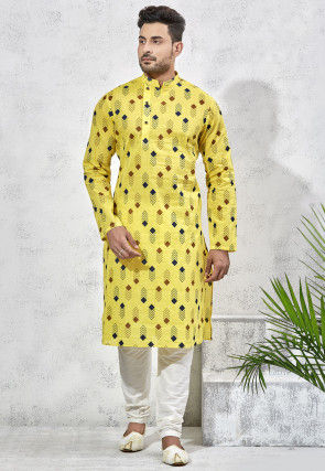 Printed Cotton Silk Kurta Set in Yellow