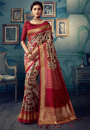 Printed Cotton Silk Saree in Beige and Maroon