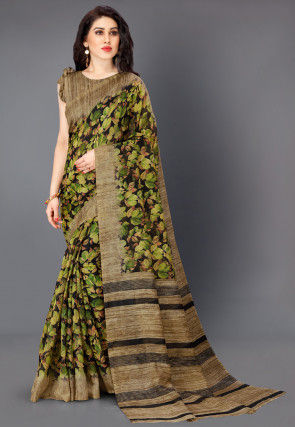 Printed Cotton Silk Saree in Black and Green