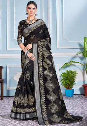 Printed Cotton Silk Saree in Black