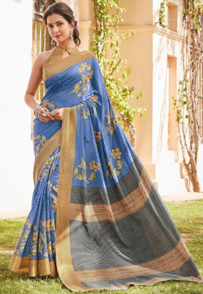 Printed Cotton Silk Saree in Blue